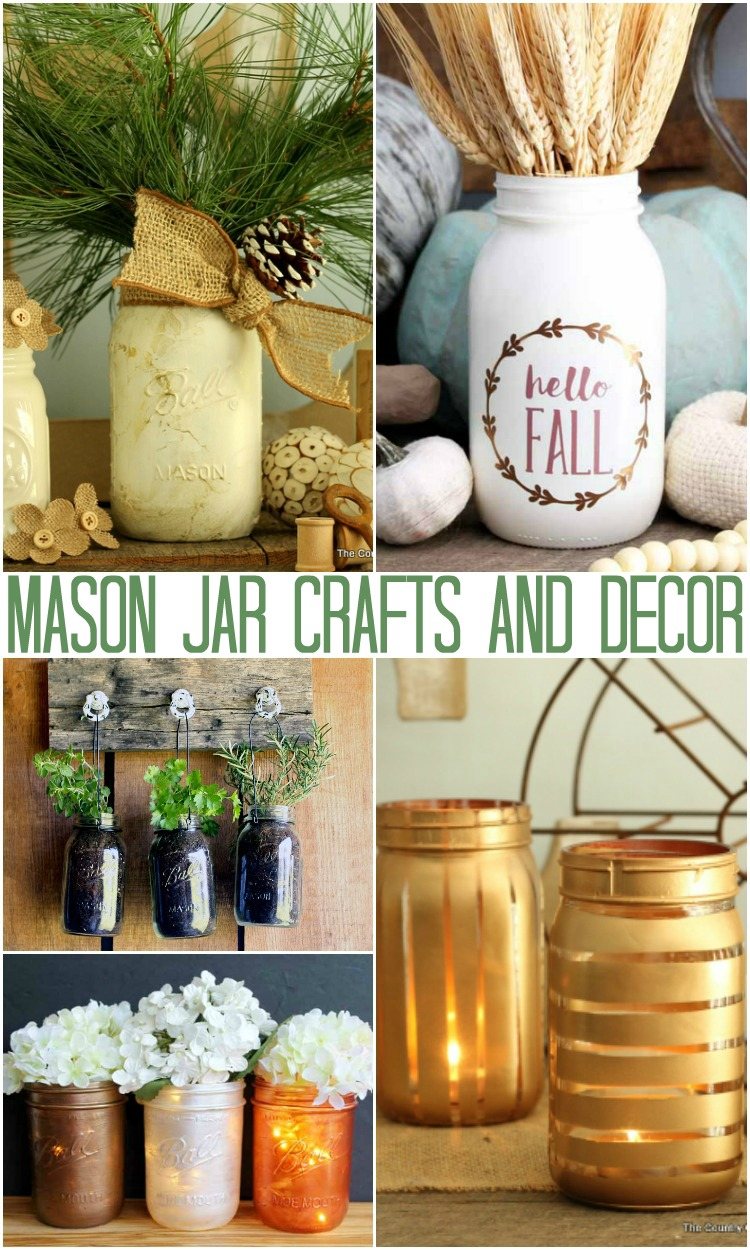 a collection of craft and decor ideas with jars from the country chic cottage