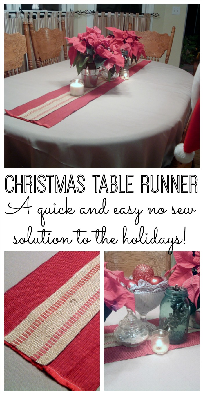 A quick and easy Christmas table runner with no sewing required! Perfect for those that love rustic and burlap!