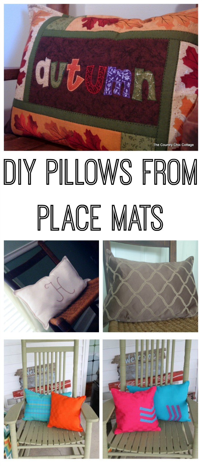 Make DIY pillows from place mats with these instructions!