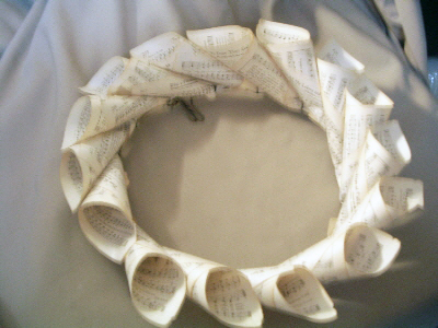 wreath made with sheet music