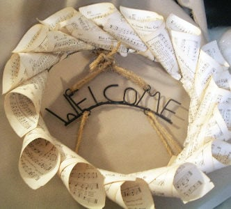Make this sheet music wreath for your home! A simple project that will look great in your home!