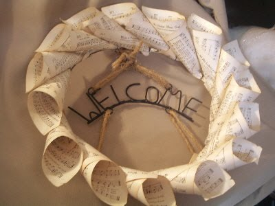 Sheet Music Wreath My Way The Country Chic Cottage