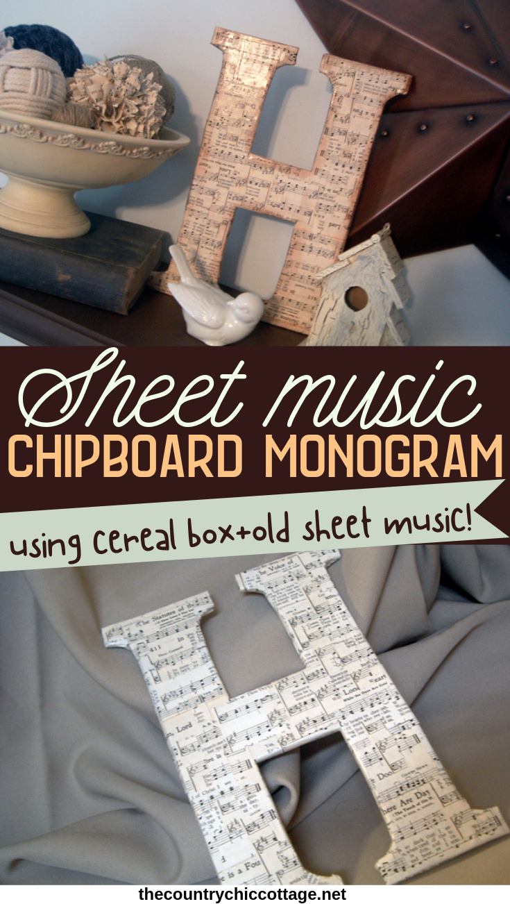 Make this DIY Chipboard Monogram for your home! Using scrap cardboard to make a gorgeous sheet music letter! #sheetmusic #cardboard #diy #recycle