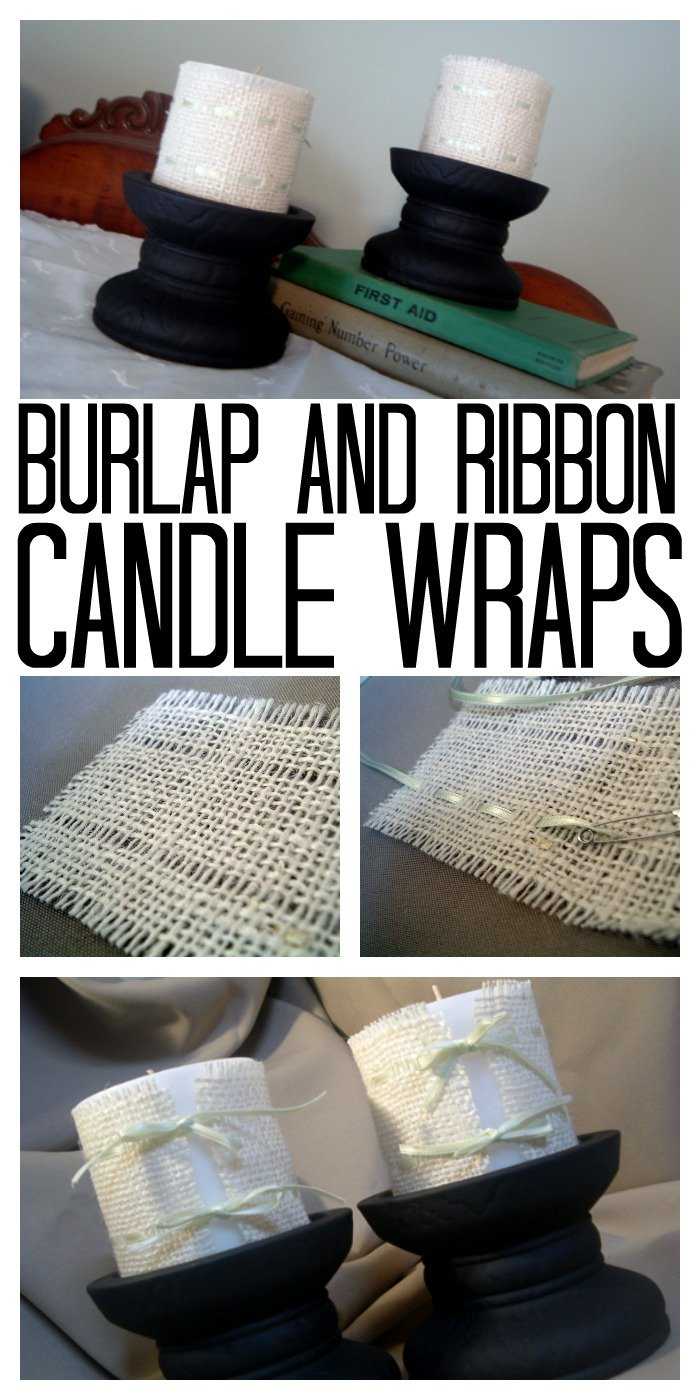 Make these burlap and ribbon candle wraps for your rustic home decor!  A quick and easy no sew project!