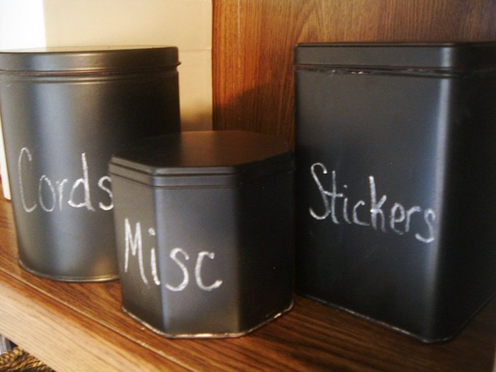 These chalkboard containers only cost a few cents to make and they look just like the Pottery Barn originals!
