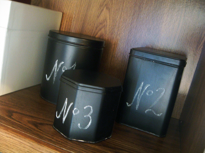 These chalkboard tins only cost a few cents to make and they look just like the Pottery Barn originals!