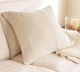 See how to cover a pillow with a sweater for that Pottery Barn look on a budget!