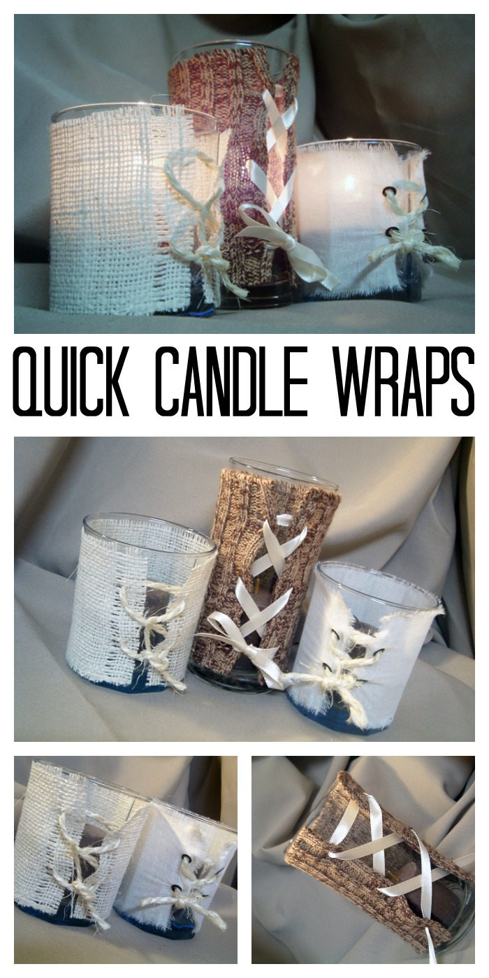 Make these quick and easy candle wraps with things you may already have on hand around your home!