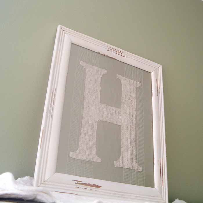 Make this framed burlap letter for your home! A quick and easy way to add some rustic flair to your farmhouse!