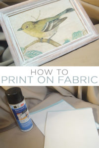Learn all about printing on fabric for an inexpensive way to make your own art at home. How to print on fabric with an easy technique with simple supplies! #crafts #homedecor #printing