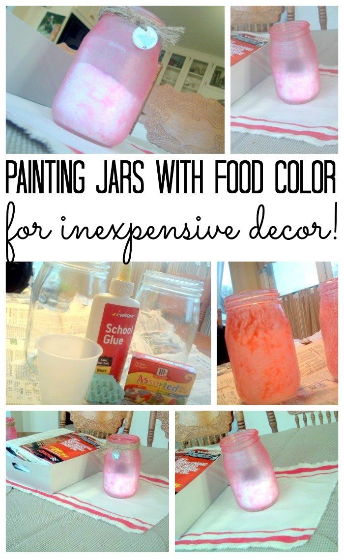 Learn how to paint jars with food coloring for inexpensive decor!