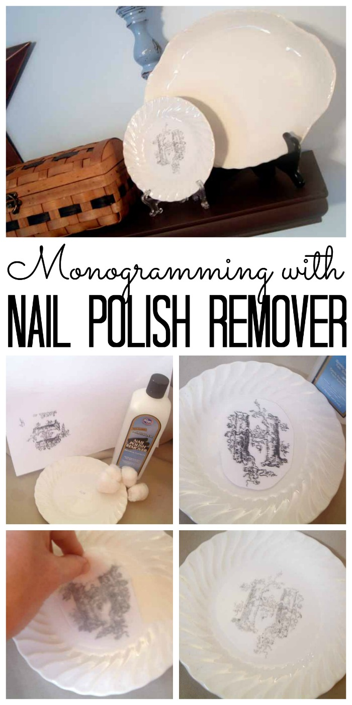 Learn how monogramming a saucer with nail polish remover is a simple craft idea!