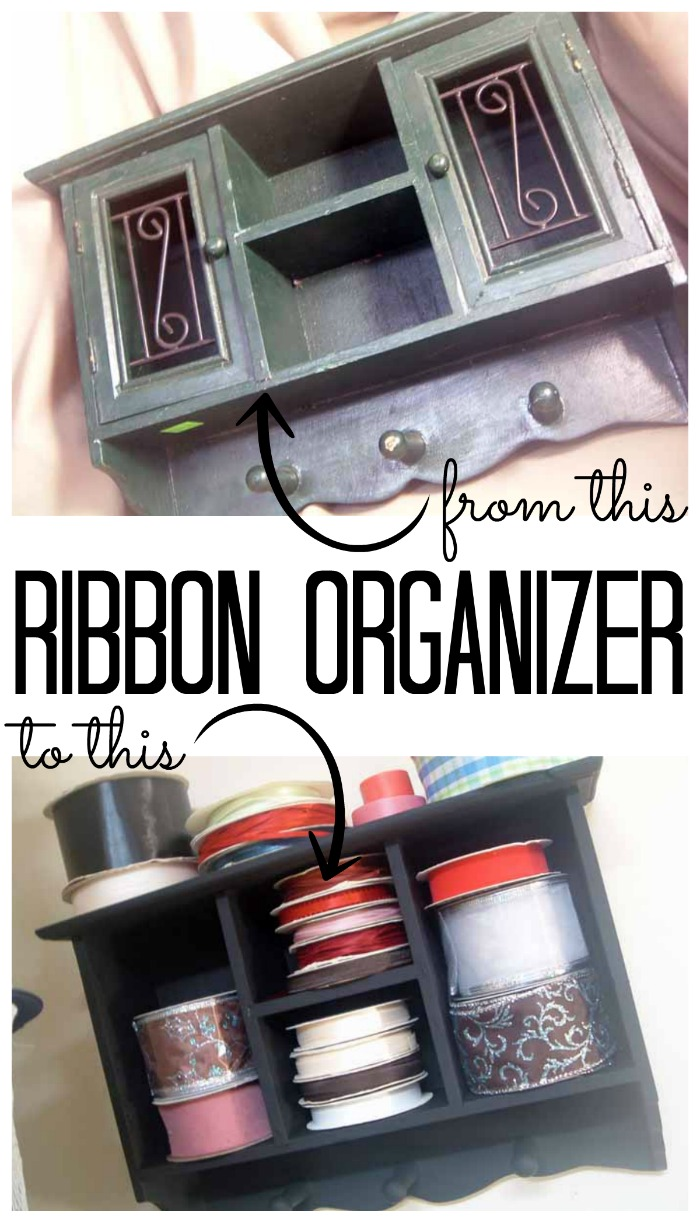 Make this ribbon organizer from a thrift store shelf in minutes!