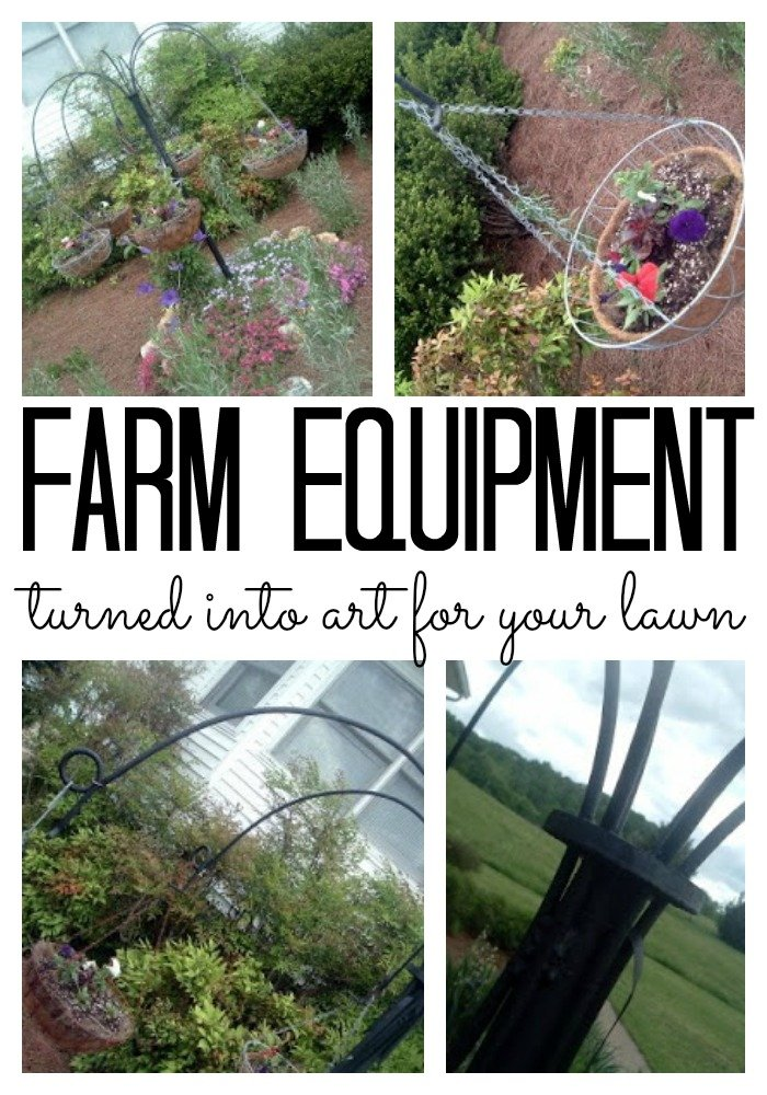 Turn old farm equipment into lawn art with this fun idea!