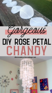 Dollar store rose petals combine with embroidery hoops to make a gorgeous rose petal chandelier for any room or even a wedding! #rosepetals #wedding #teenroom