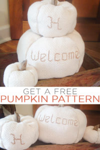 Get free fabric pumpkin patterns in three sizes for your fall decor! Make gorgeous cloth pumpkins to set around your home out of any fabric! #pumpkins #fall #sewing #sewingpattern