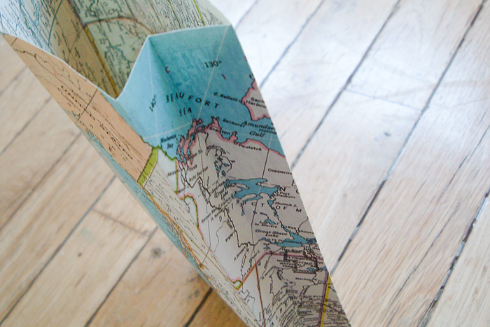 make a gift bag from an old map