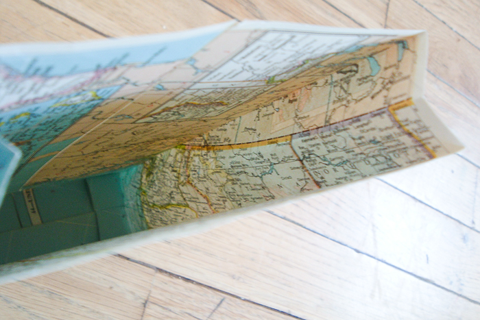 inside of a map gift bag