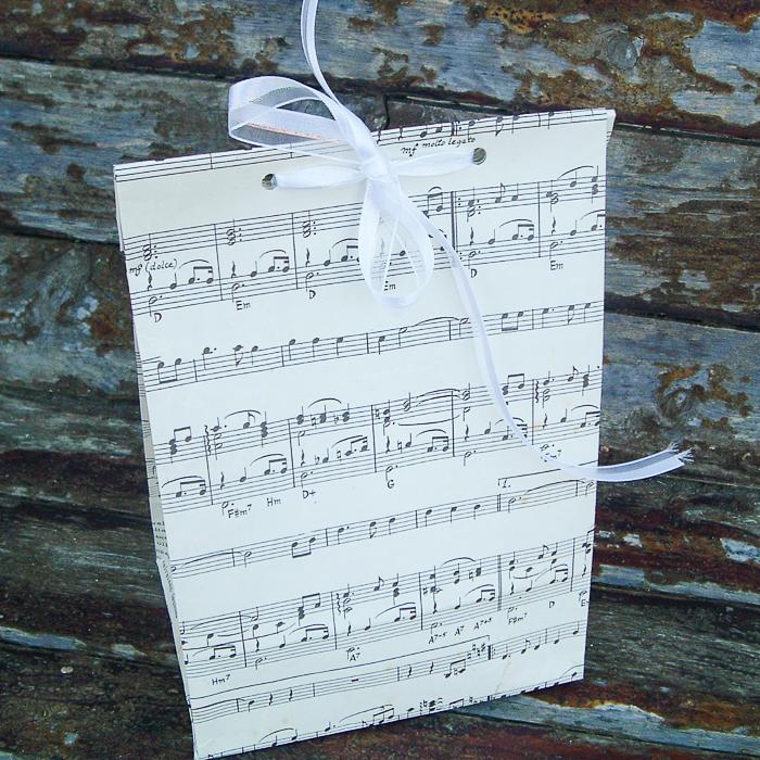 Using sheet music to make a DIY gift bag.