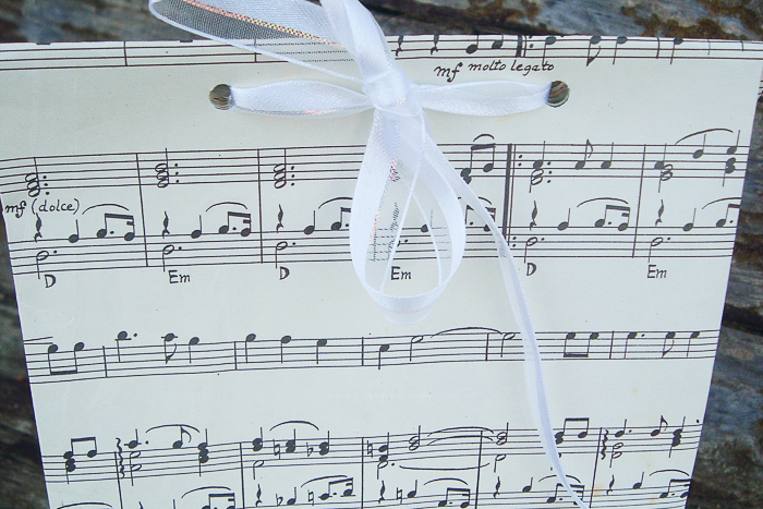 make a gift bag from sheet music