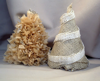 sewing pattern christmas tree along with a burlap christmas tree