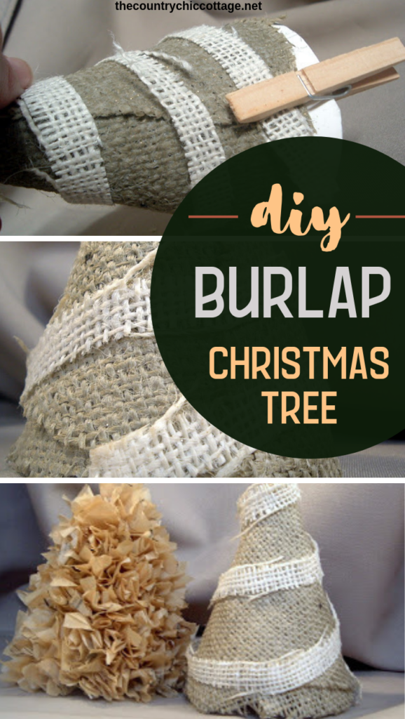 Make these DIY burlap Christmas trees with just a few supplies! You will love how these look in your farmhouse style Christmas decor! #farmhouse #burlap #decor #christmas