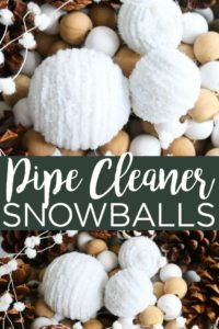 Make these DIY snowballs with pipe cleaners! This easy to make craft is perfect for your winter home decor! #winter #snowballs #pipecleaners #crafts #farmhouse #farmhousestyle #rustic #homedecor #diyhomedecor #diyproject #wintercrafts