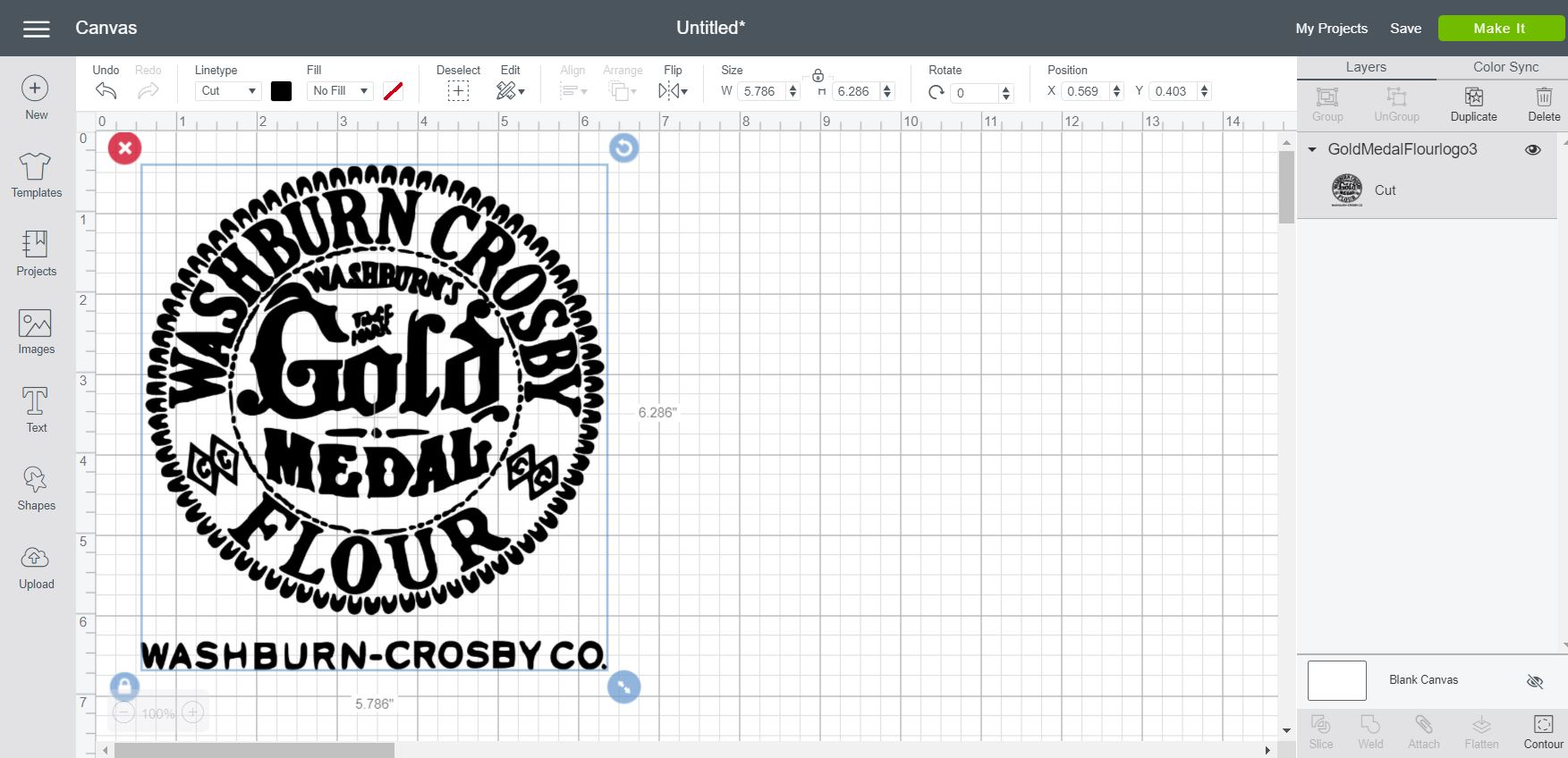 washburn crosby logo in cricut design space