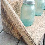 end of handmade barn wood shelf