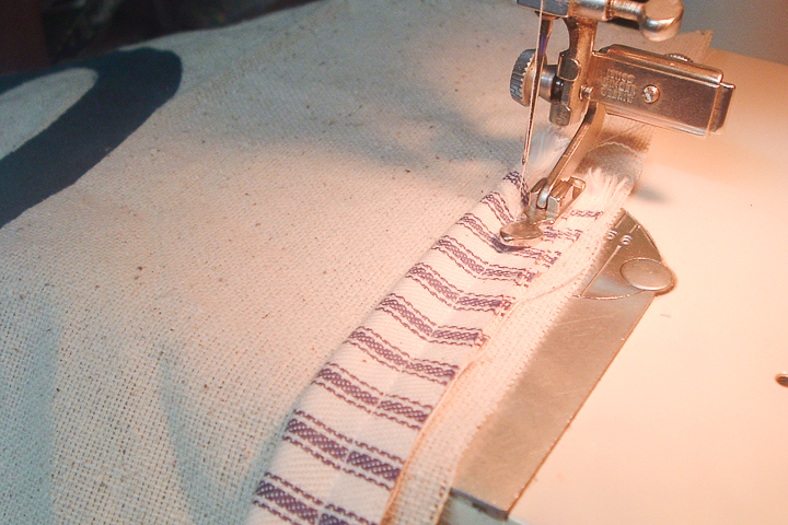 sewing cording on edge of fabric