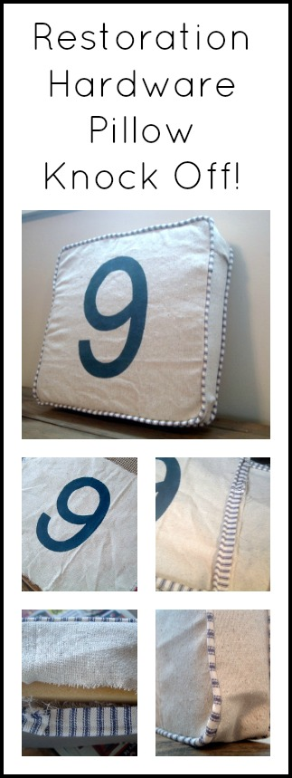 Get step by step instructions on how to make this pillow that is a knock off of a Restoration Hardware original.