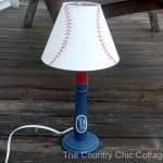 Turn a lamp into a knock off of the original baseball lamp from Pottery Barn!