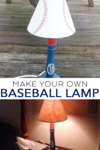 Make your own baseball lamp with this tutorial, a thrift store find, and your Cricut machine! A quick and easy tutorial for a kids room! #baseball #cricut #cricutmade