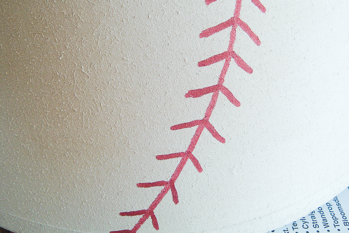 Painting a baseball lamp shade