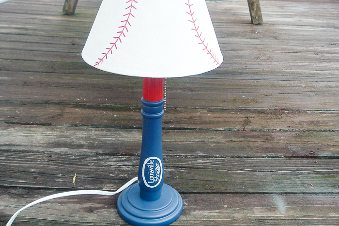 Kids baseball lamp painted from a thrift store find.