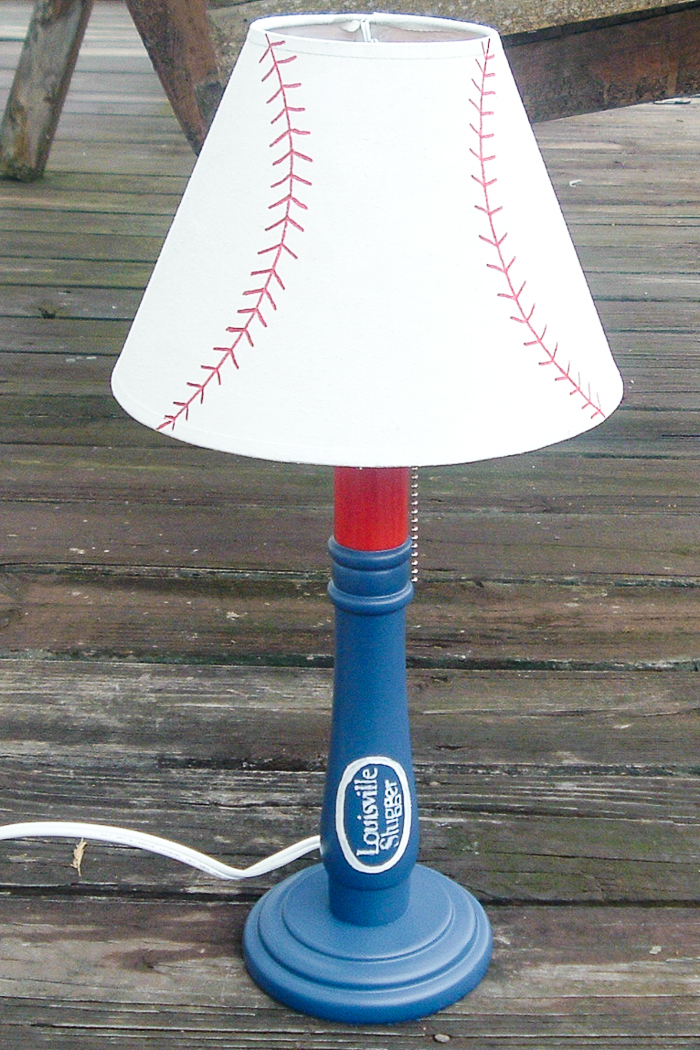 DIY baseball lamp from a thrift store find.
