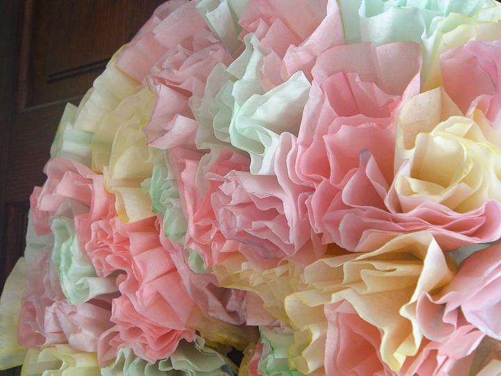 close up of spring wreath made with coffee filters
