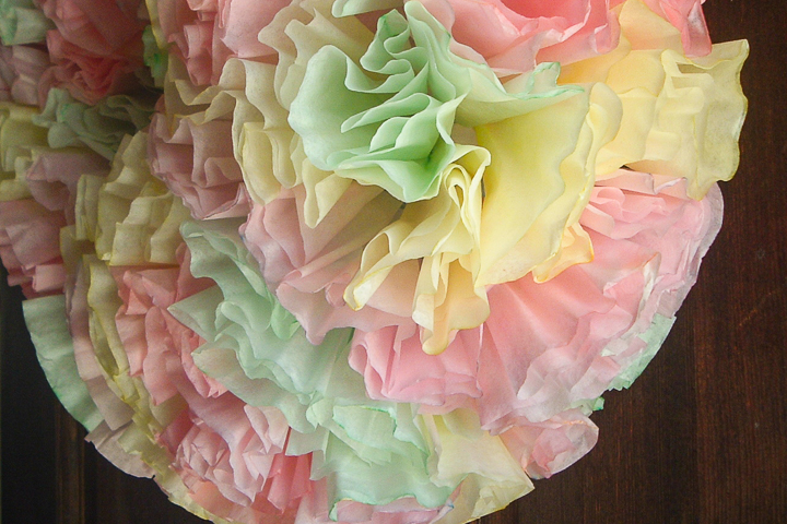 I love the watercolor pastel look of the colors on this Spring coffee filter wreath!