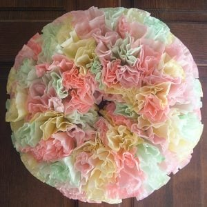 pastel colors on a spring wreath