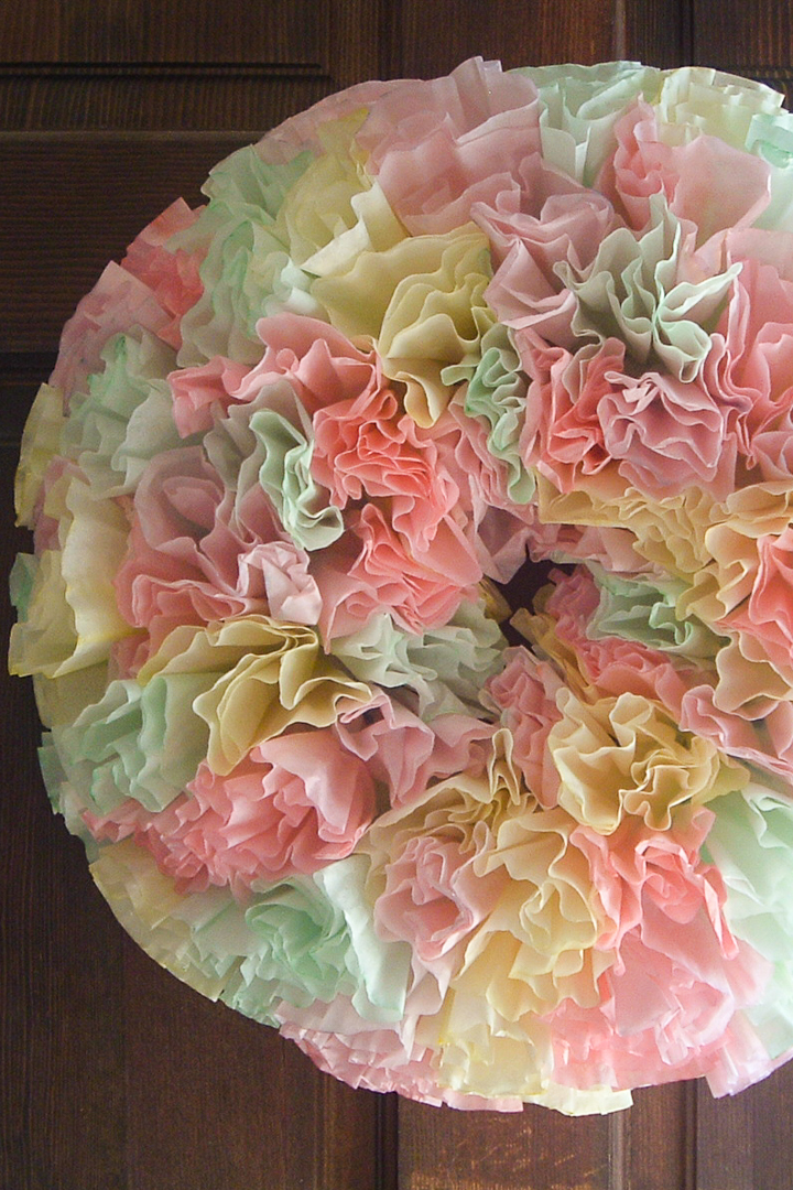coffee filter wreath on wood door