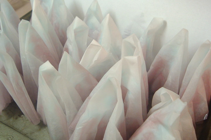 dyed coffee filters drying