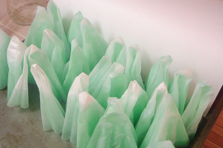 green dyed coffee filters