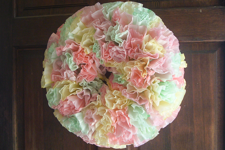 coffee filter wreath on front door