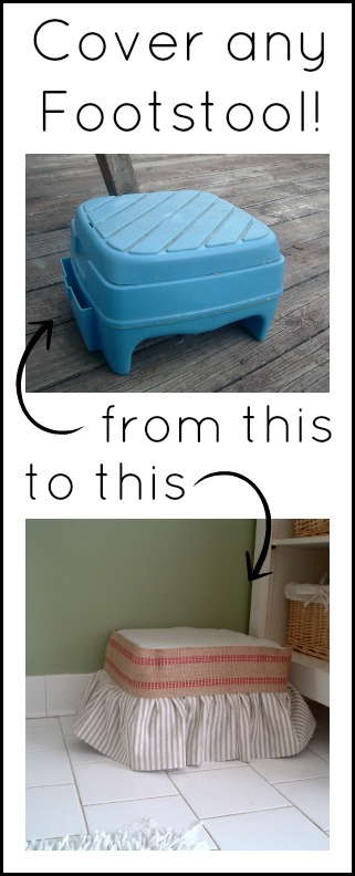 Cover any footstool with this method -- a tutorial on how to slipcover a plastic stool.