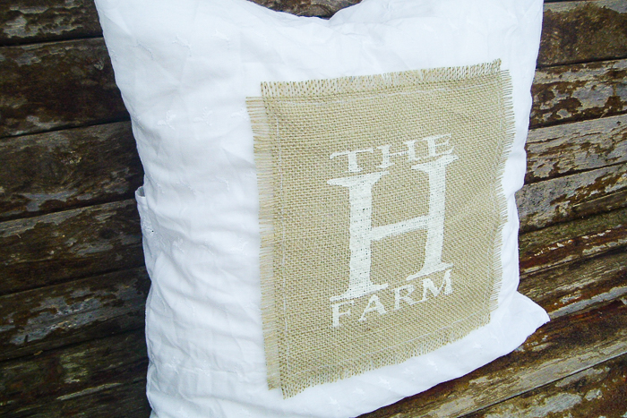 DIY pillow covers with farm logo.