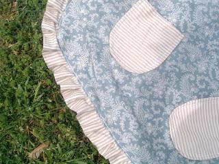 blue handmade apron