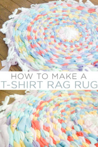 Learn how to make a rag rug with old t-shirts and this tutorial using a hoola hoop! This is a great rainy day project for the kids! #recycling #upcycling #ragrug #rug #kidscraft