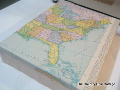 Diy wrapped map canvas the country chic cottage i folded my corners just like a present gumiabroncs Gallery