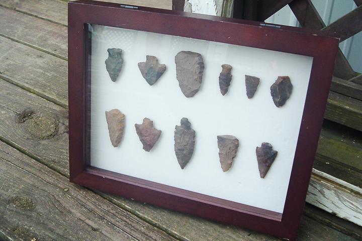 arrowheads in shadowbox