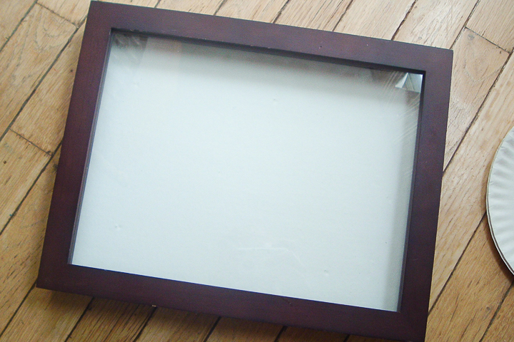 shadowbox with white fabric